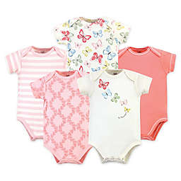 Touched by Nature® 5-Pack Butterflies Organic Cotton Bodysuits in Pink