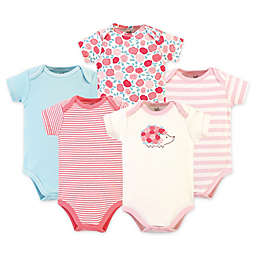 Touched by Nature 5-Pack Rosebud Organic Cotton Bodysuits in Blue