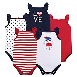 Hudson Baby® 5-Pack Shining Stars & Stripes Short Sleeve Bodysuits