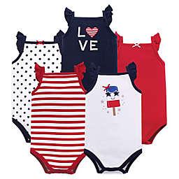 Hudson Baby® Size 6-9M 5-Pack Shining Stars & Stripes Short Sleeve Bodysuits