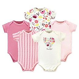 Touched by Nature® 5-Pack Botanical Organic Cotton Short Sleeve Bodysuits in Pink