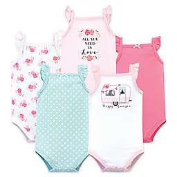 Hudson Baby® Size 9-12M 5-Pack Happy Camper Short Sleeve Bodysuits