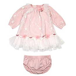 Baby Biscotti 2-Piece Embroidered Dress and Panty Set in Ivory