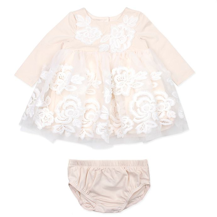 Alternate image 1 for Baby Biscotti 2-Piece Embroidered Dress and Diaper Cover Set in Champagne