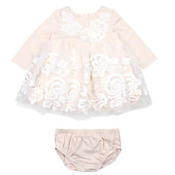 Baby Biscotti 2-Piece Embroidered Dress and Diaper Cover Set in Champagne