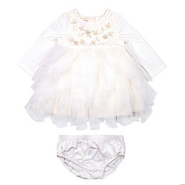 Baby Biscotti 2-Piece Petal Tiered Ruffle Tutu Dress and Panty Set in Ivory