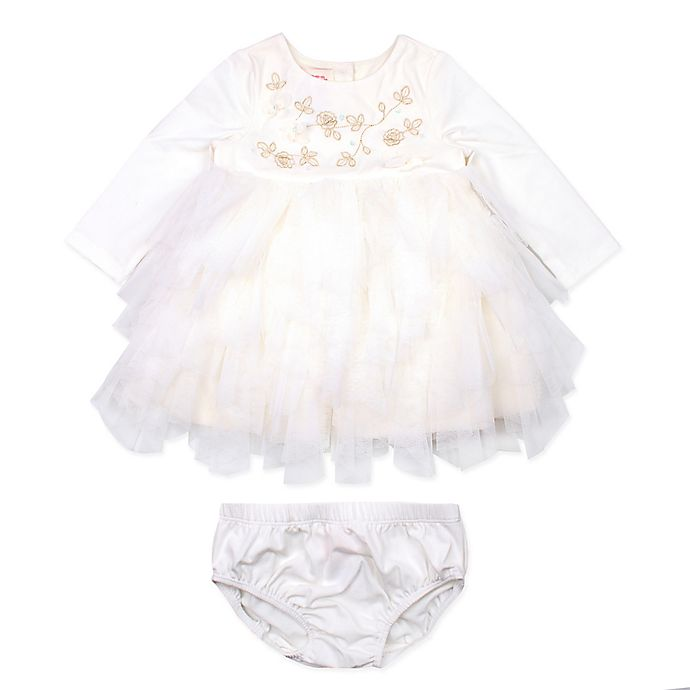 Alternate image 1 for Baby Biscotti 2-Piece Petal Tiered Ruffle Tutu Dress and Panty Set in Ivory