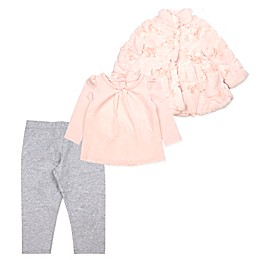 Baby Biscotti 3-Piece Rose Toddler Top, Jacket, and Pant Set in Peach
