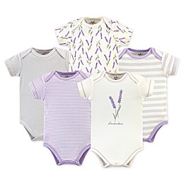 Touched by Nature 5-Pack Lavender Organic Cotton Short Sleeve Bodysuits