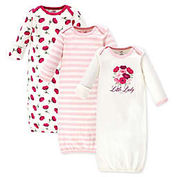 Touched by Nature Size 0-6M 3-Pack Petals Organic Cotton Gowns in Red