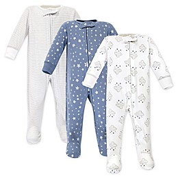 Hudson Baby® Preemie 3-Pack Cloud Mobile Sleep and Play Footies in Blue/White