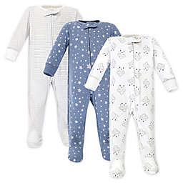 Hudson Baby® Preemie 3-Pack Cloud Mobile Sleep and Play Footies in Blue/White