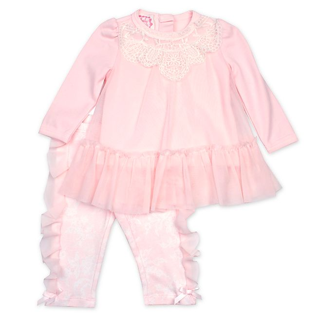 Alternate image 1 for Baby Biscotti 2-Piece Lace Top and Legging Set in Peach