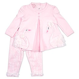 Baby Biscotti 2-Piece Swan Lace Top and Legging Set in Pink