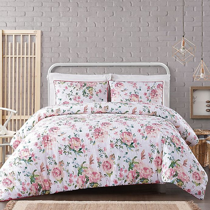Alternate image 1 for Cottage Classics® Blooms Comforter Set in White/Pink