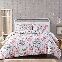 Cottage Classics® Blooms 3-Piece Full/Queen Duvet Set in White/Pink