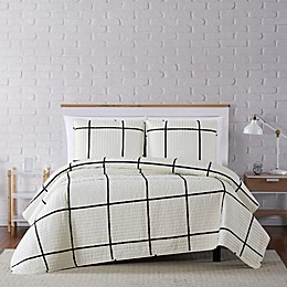 Truly Soft® Kurt Windowpane Quilt Set in Ivory/Black