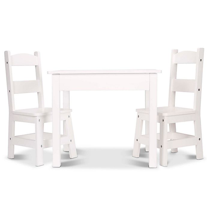 Melissa Doug 3 Piece Wooden Table And Chairs Set Bed Bath Beyond