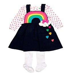 Nannette Baby® 3-Piece Rainbow Jumper, Bodysuit and Tights Set in Navy