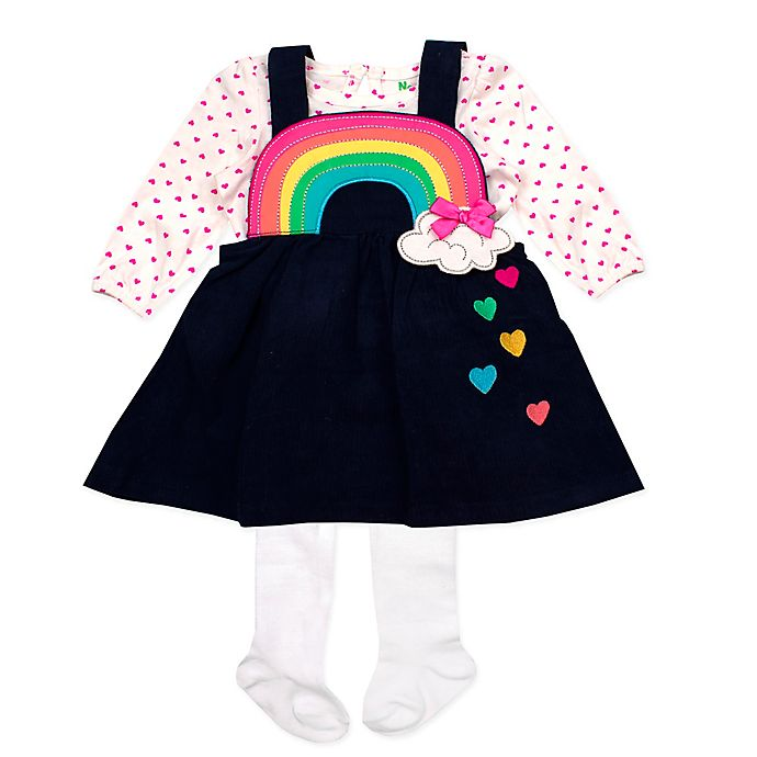Alternate image 1 for Nannette Baby® 3-Piece Rainbow Jumper, Bodysuit and Tights Set in Navy