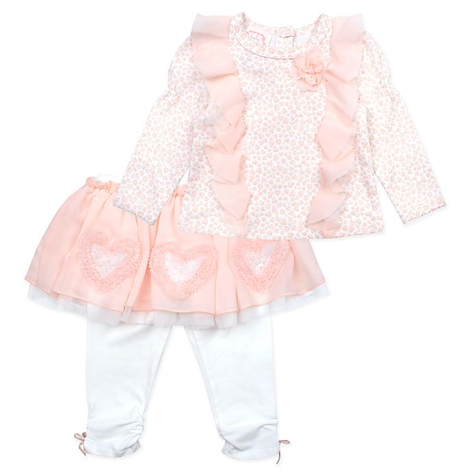 Alternate image 1 for Baby Biscotti 2-Piece Animal Heart Top and Skirted Legging Set