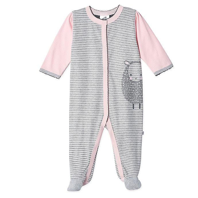 Alternate image 1 for Just Born® Stripe Lamb Organic Cotton Sleep 'n Play in Pink/Grey