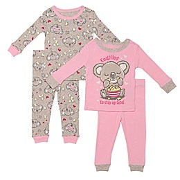 Night Life® 4-Piece Koala Pajama Top and Pant Set in Pink
