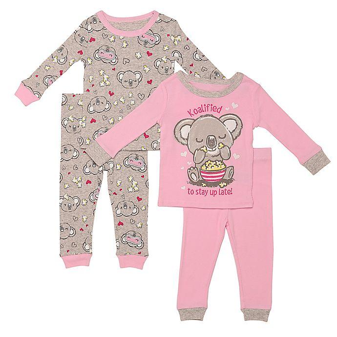 Alternate image 1 for Night Life® 4-Piece Koala Pajama Top and Pant Set in Pink