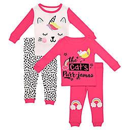 Night Life 4-Piece Caticorn Toddler Pajama Set in Pink