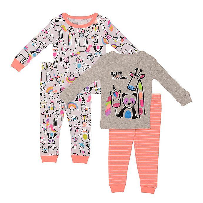Alternate image 1 for Night Life 4-Piece Bedtime Besties Toddler Pajama Set in Grey