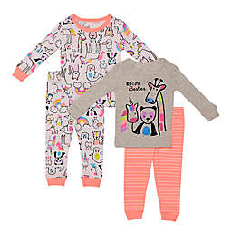 Night Life 4-Piece Bedtime Besties Toddler Pajama Set in Grey