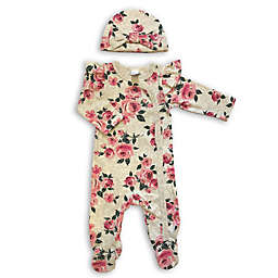 Modern Baby 2-Piece Floral Ruffle Footie and Cap Set
