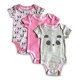 Modern Baby 3-Pack Panda Bodysuits in Grey/Pink
