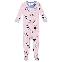 Just Born® Panda Organic Cotton Footie in Grey/Pink
