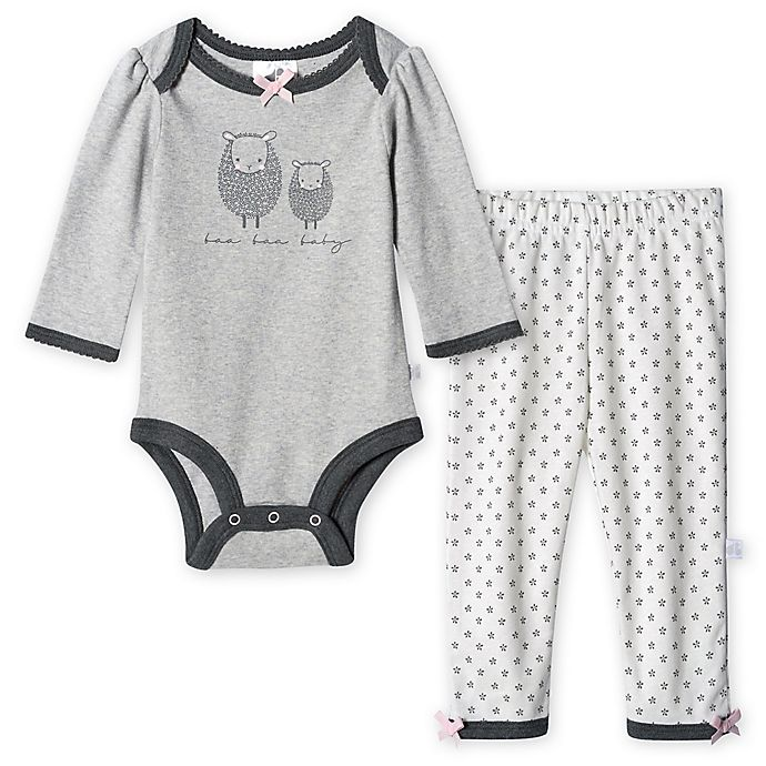 Alternate image 1 for Just Born® 2-Piece Lamb Organic Bodysuit and Pant Set in Grey/White