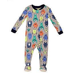 Night Life Monsters Zip-Front Footed Pajama in Grey