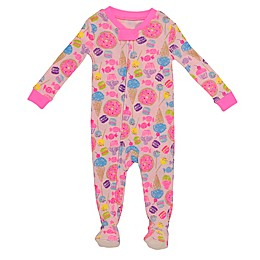 Night Life Cupcake and Ice Cream Zip-Front Footed Pajama in Pink