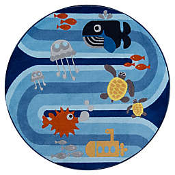 Momeni® Animals 4'4 Round Accent Rug in Blue