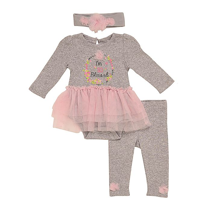 Alternate image 1 for Baby Starters® 3-Piece So Blessed Bodysuit, Legging, and Headband Set in Grey