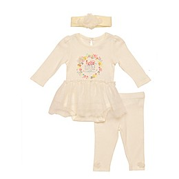 Baby Starters® 3-Piece Floral Wildflower Bodysuit, Pant, and Headband Set in Ivory