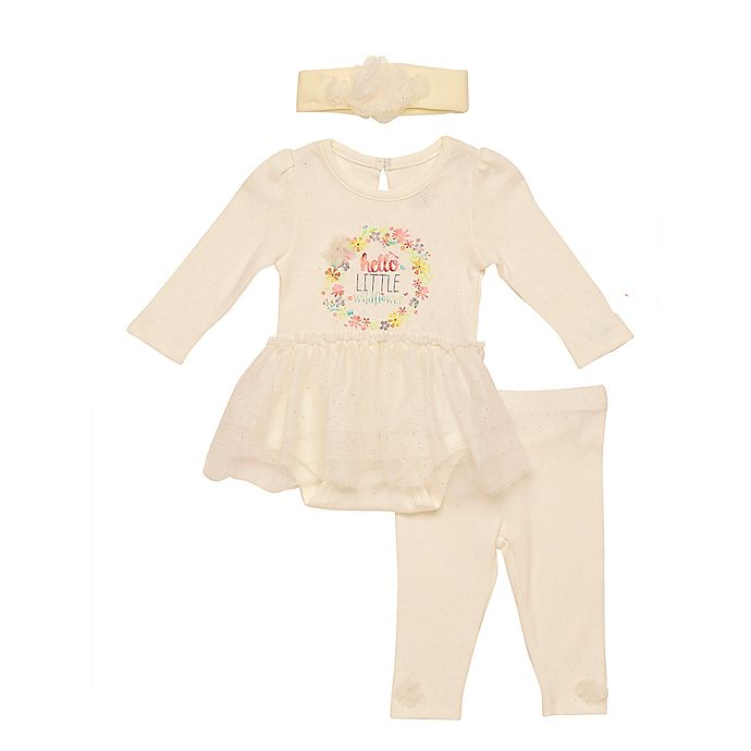 Alternate image 1 for Baby Starters® 3-Piece Floral Wildflower Bodysuit, Pant, and Headband Set in Ivory