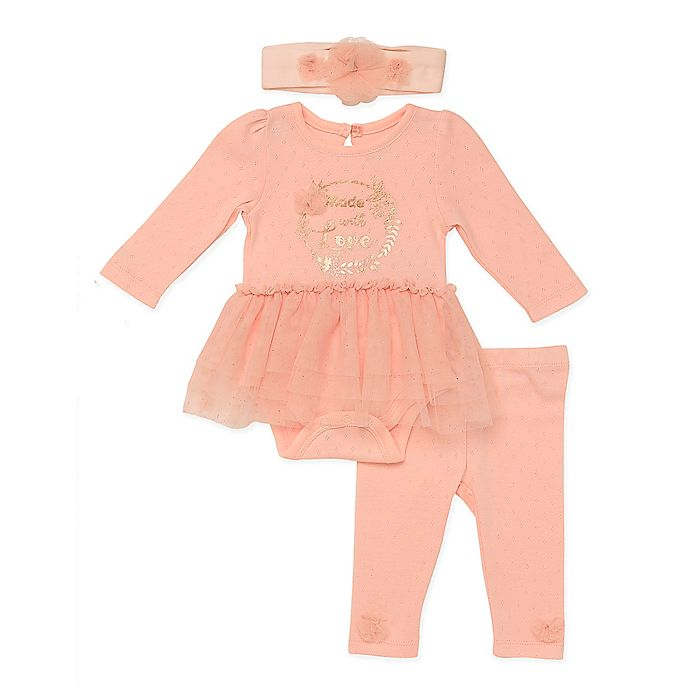 Alternate image 1 for Baby Starters® 3-Piece Made with Love Bodysuit, Pant and Headband Set in Pink