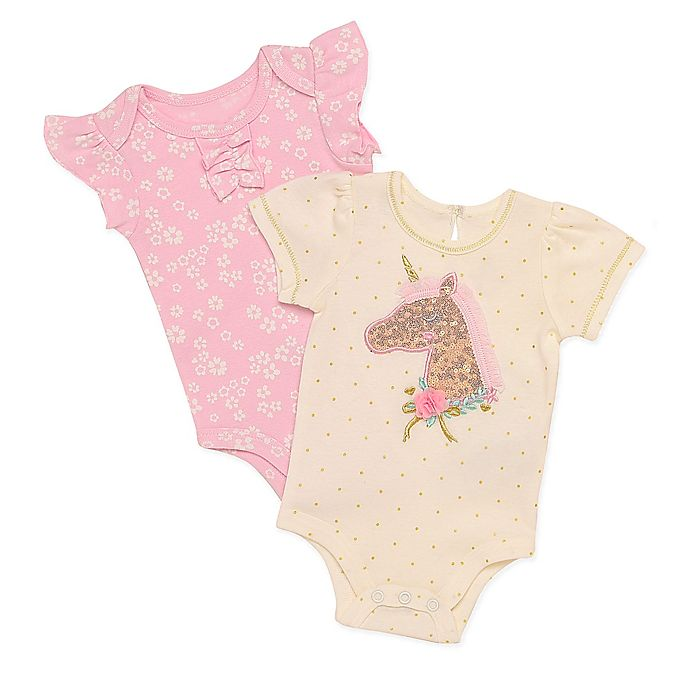 Alternate image 1 for Baby Starters® 2-Pack Sequin Unicorn and Flowers Bodysuits in Ivory/Pink