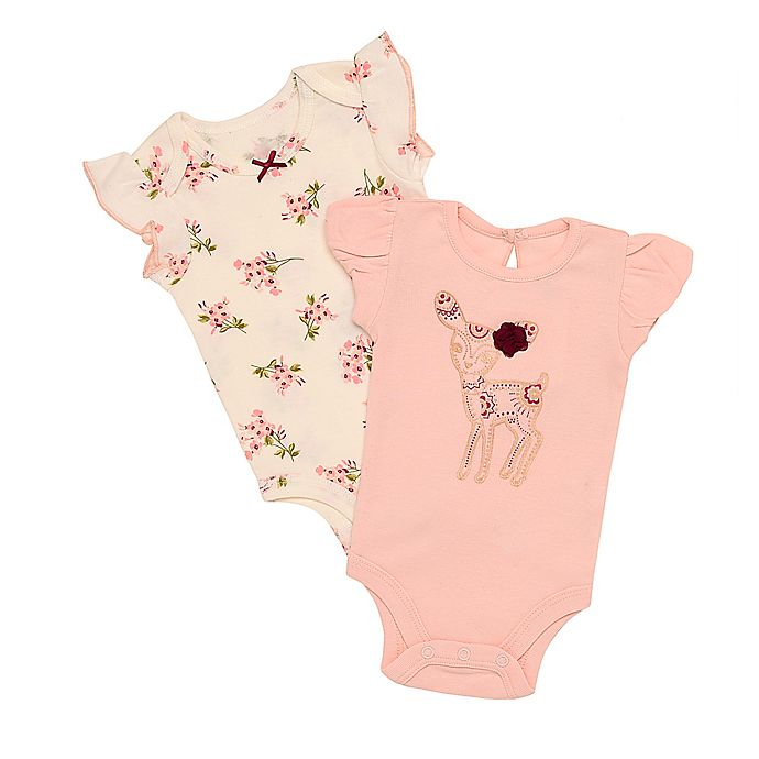 Alternate image 1 for Baby Starters® 2-Pack Sequin Deer and Flowers Bodysuits in Pink