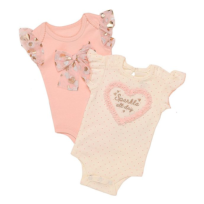 Alternate image 1 for Baby Starters® 2-Piece Heart and Bow Bodysuits in Ivory/Pink