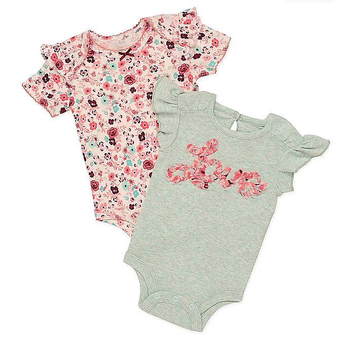 Alternate image 1 for Baby Starters® 2-Piece Love and Floral Bodysuits in Aqua/Red