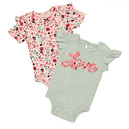 Baby Starters® 2-Piece Love and Floral Bodysuits in Aqua/Red