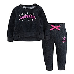 Converse 2-Piece Long Sleeve Top and Jogger Set in Black