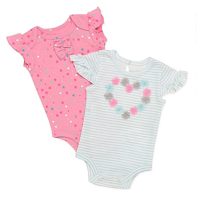 Alternate image 1 for Baby Starters® 2-Pack Heart Confetti Bodysuits in Aqua