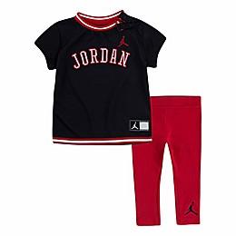 Jordan® 2-Piece Red Mesh Toddler Dress and Legging Set in Black